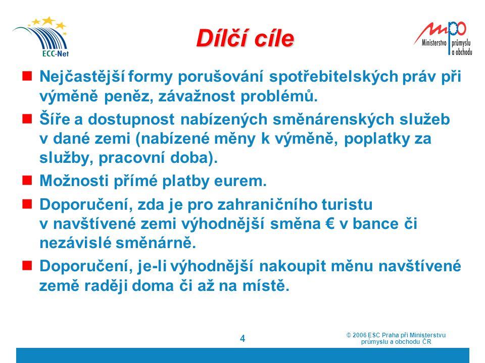 © 2006 ESC Praha při Ministerstvu průmyslu a obchodu ČR 4 Dílčí cíle Nejčastější formy porušování spotřebitelských práv při výměně peněz, závažnost pr