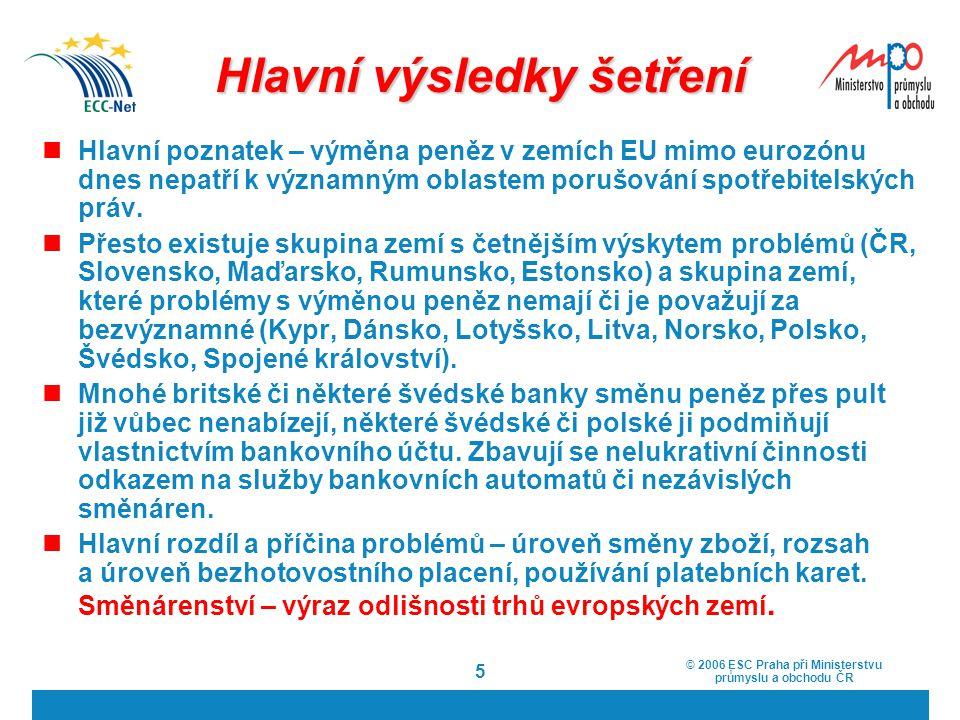 © 2006 ESC Praha při Ministerstvu průmyslu a obchodu ČR 5 Hlavní výsledky šetření Hlavní poznatek – výměna peněz v zemích EU mimo eurozónu dnes nepatř