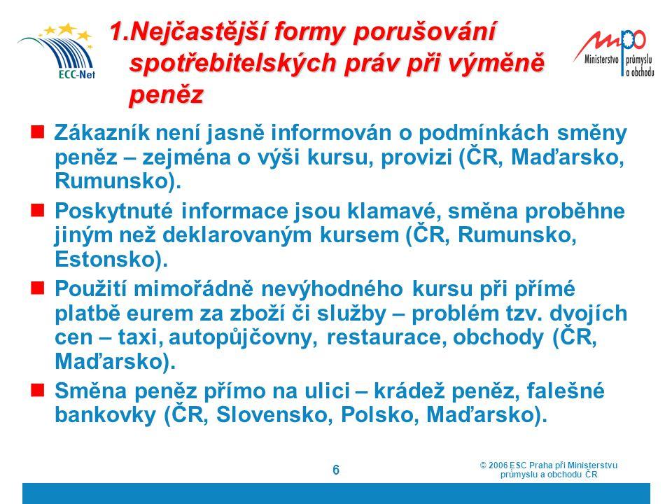 © 2006 ESC Praha při Ministerstvu průmyslu a obchodu ČR 6 1.Nejčastější formy porušování spotřebitelských práv při výměně peněz Zákazník není jasně in