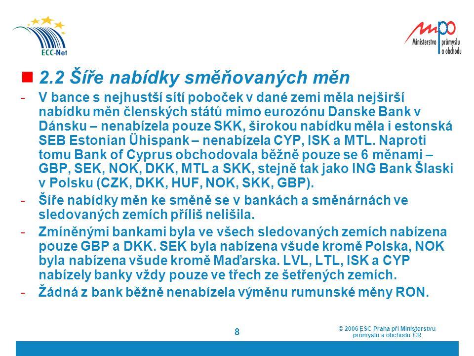 © 2006 ESC Praha při Ministerstvu průmyslu a obchodu ČR 8 2.2 Šíře nabídky směňovaných měn -V bance s nejhustší sítí poboček v dané zemi měla nejširší