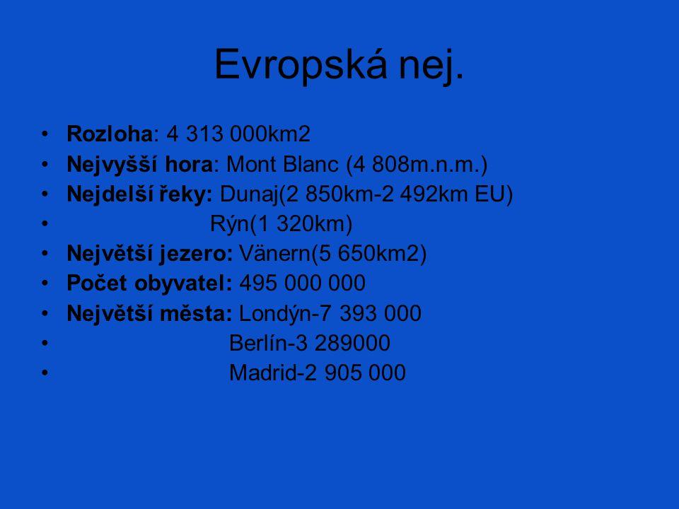 Evropská nej. Rozloha: 4 313 000km2 Nejvyšší hora: Mont Blanc (4 808m.n.m.) Nejdelší řeky: Dunaj(2 850km-2 492km EU) Rýn(1 320km) Největší jezero: Vän
