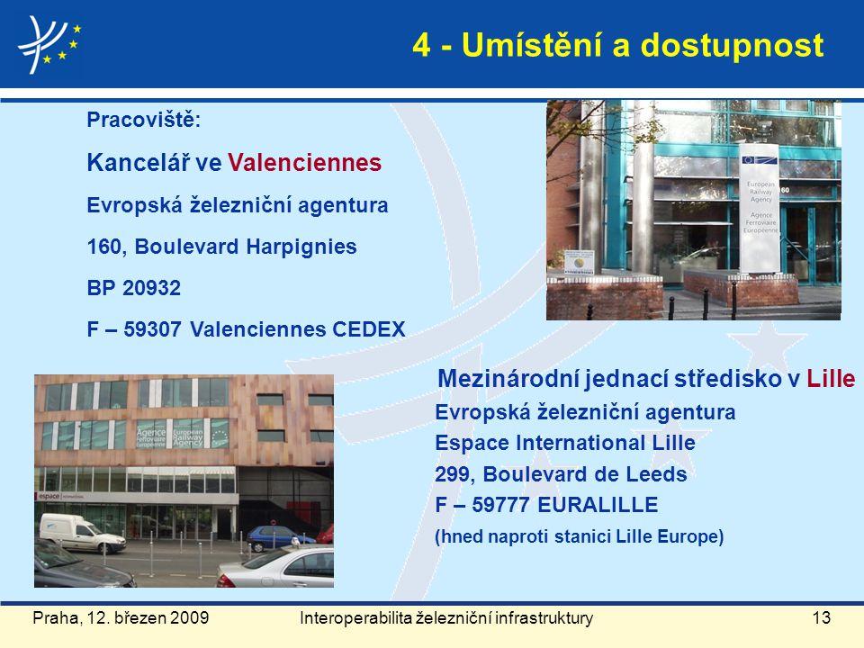 Praha, 12. březen 2009 4 - Umístění a dostupnost Pracoviště: Kancelář ve Valenciennes Evropská železniční agentura 160, Boulevard Harpignies BP 20932
