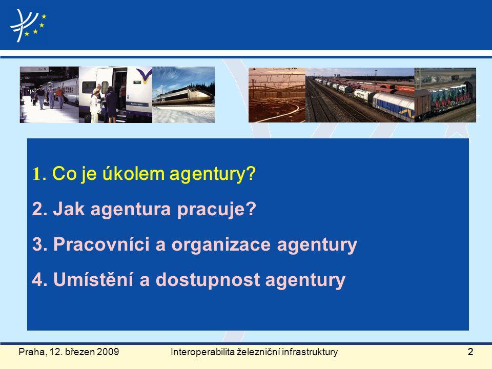 Praha, 12. březen 2009222 1. Co je úkolem agentury? 2. Jak agentura pracuje? 3. Pracovníci a organizace agentury 4. Umístění a dostupnost agentury Int