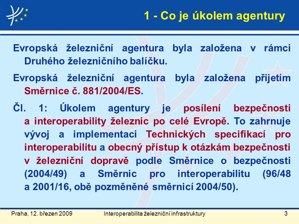 Praha, 12. březen 20093 Evropská železniční agentura byla založena v rámci Druhého železničního balíčku. Evropská železniční agentura byla založena př