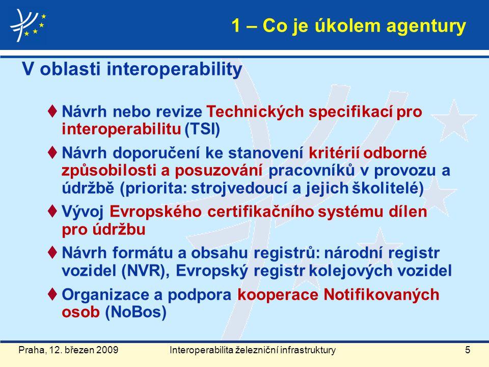 Praha, 12. březen 20095 V oblasti interoperability  Návrh nebo revize Technických specifikací pro interoperabilitu (TSI)  Návrh doporučení ke stanov