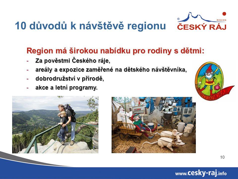 10 10 důvodů k návštěvě regionu Region má širokou nabídku pro rodiny s dětmi: -Za pověstmi Českého ráje, -areály a expozice zaměřené na dětského návšt