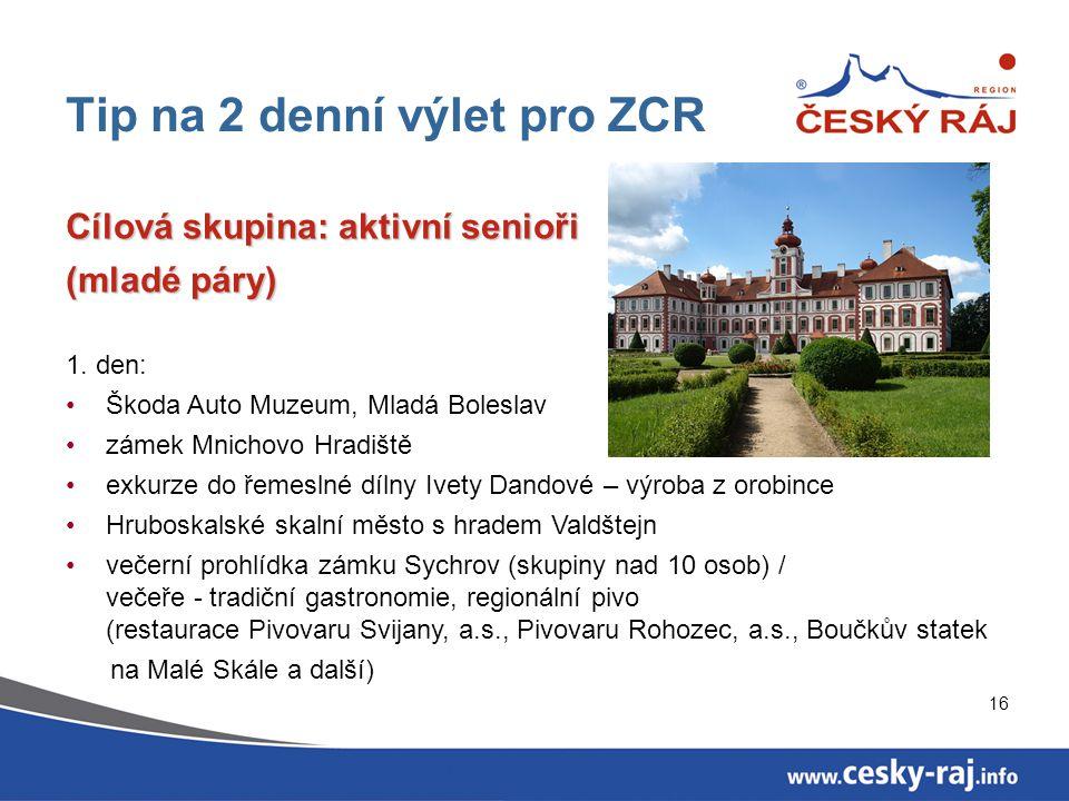 16 Tip na 2 denní výlet pro ZCR Cílová skupina: aktivní senioři (mladé páry) 1. den: Škoda Auto Muzeum, Mladá Boleslav zámek Mnichovo Hradiště exkurze