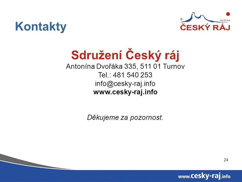 24 Kontakty Sdružení Český ráj Antonína Dvořáka 335, 511 01 Turnov Tel.: 481 540 253 info@cesky-raj.info www.cesky-raj.info Děkujeme za pozornost.
