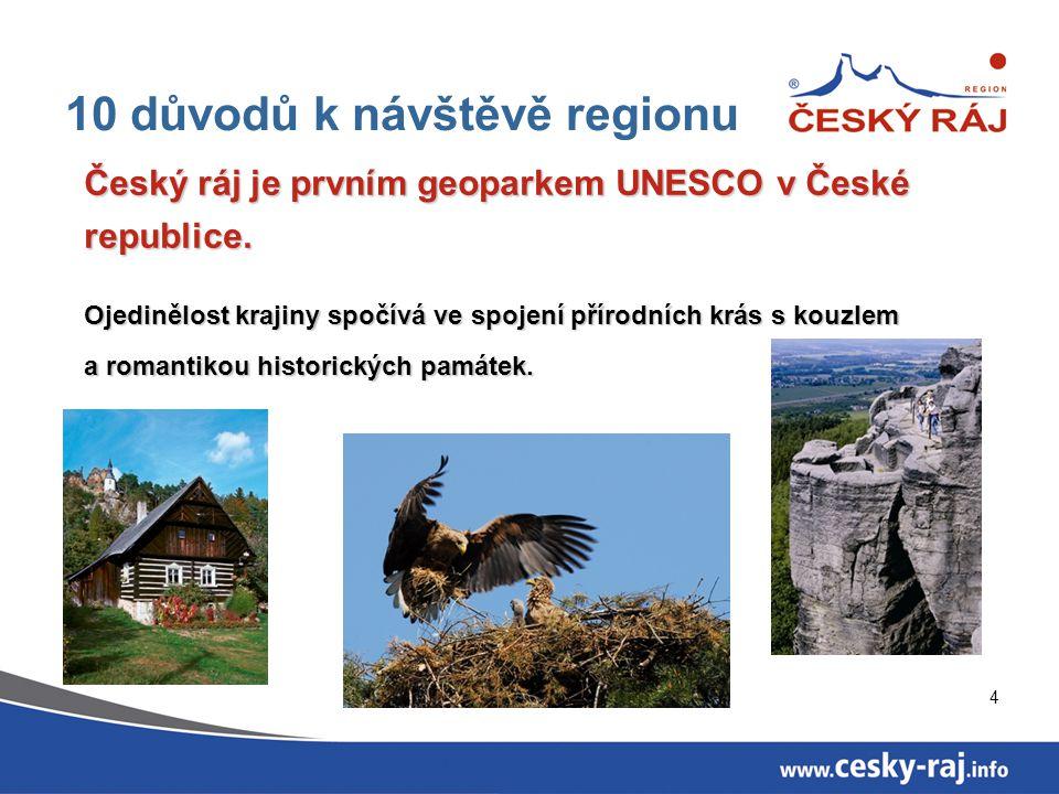 4 10 důvodů k návštěvě regionu Český ráj je prvním geoparkem UNESCO v České republice. Ojedinělost krajiny spočívá ve spojení přírodních krás s kouzle