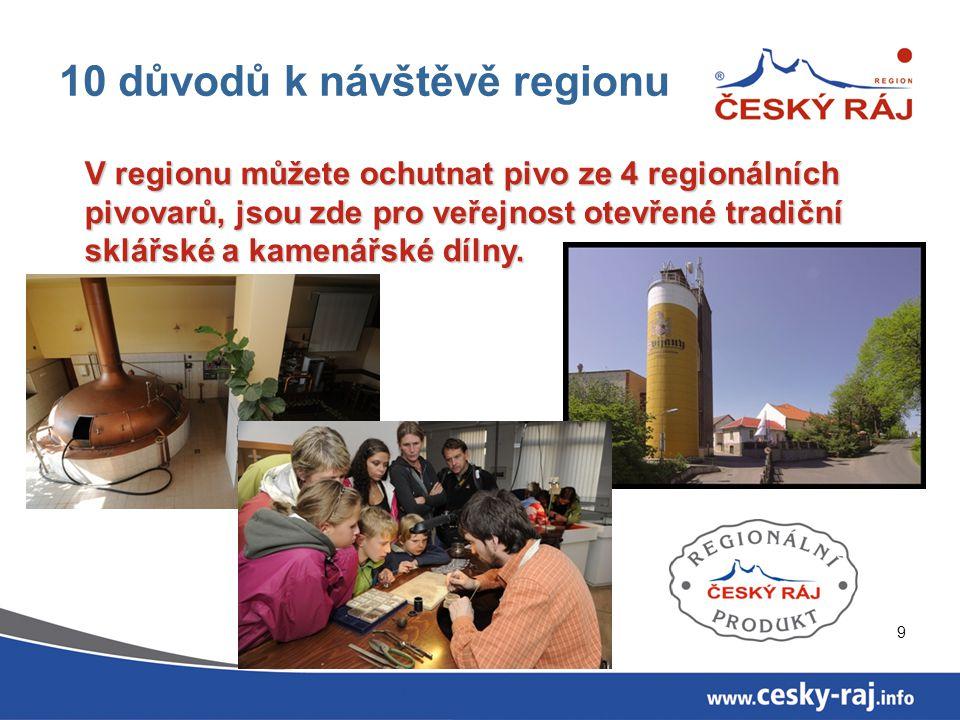 10 10 důvodů k návštěvě regionu Region má širokou nabídku pro rodiny s dětmi: -Za pověstmi Českého ráje, -areály a expozice zaměřené na dětského návštěvníka, -dobrodružství v přírodě, -akce a letní programy.