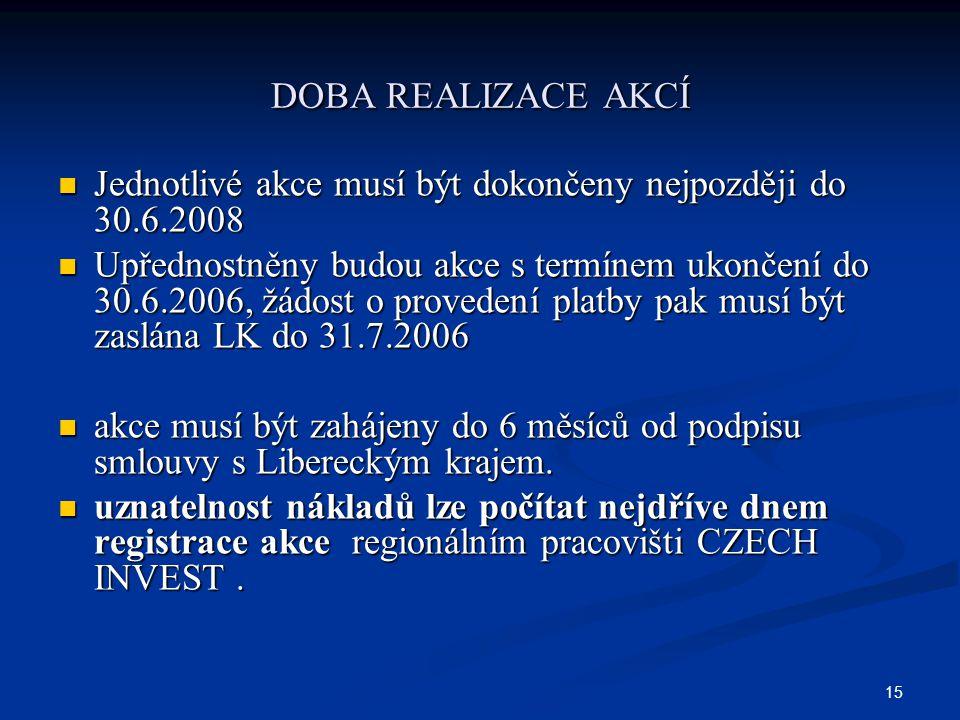 15 DOBA REALIZACE AKCÍ Jednotlivé akce musí být dokončeny nejpozději do 30.6.2008 Jednotlivé akce musí být dokončeny nejpozději do 30.6.2008 Upřednostněny budou akce s termínem ukončení do 30.6.2006, žádost o provedení platby pak musí být zaslána LK do 31.7.2006 Upřednostněny budou akce s termínem ukončení do 30.6.2006, žádost o provedení platby pak musí být zaslána LK do 31.7.2006 akce musí být zahájeny do 6 měsíců od podpisu smlouvy s Libereckým krajem.