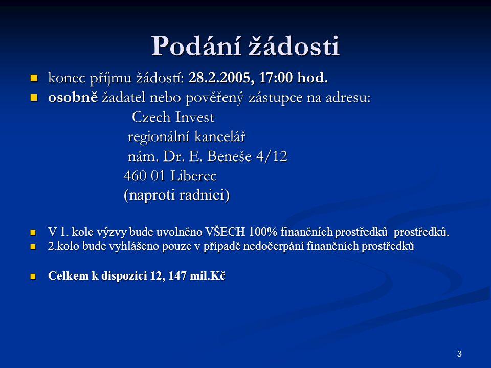 3 Podání žádosti konec příjmu žádostí: 28.2.2005, 17:00 hod.