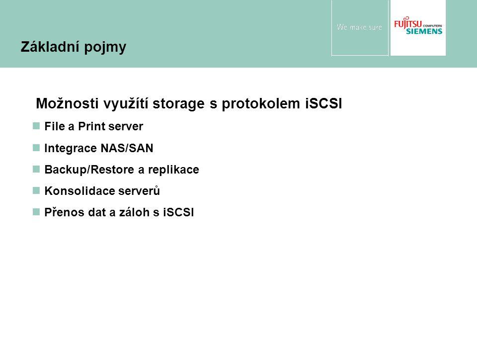File a Print server Integrace NAS/SAN Backup/Restore a replikace Konsolidace serverů Přenos dat a záloh s iSCSI Možnosti využítí storage s protokolem iSCSI Základní pojmy