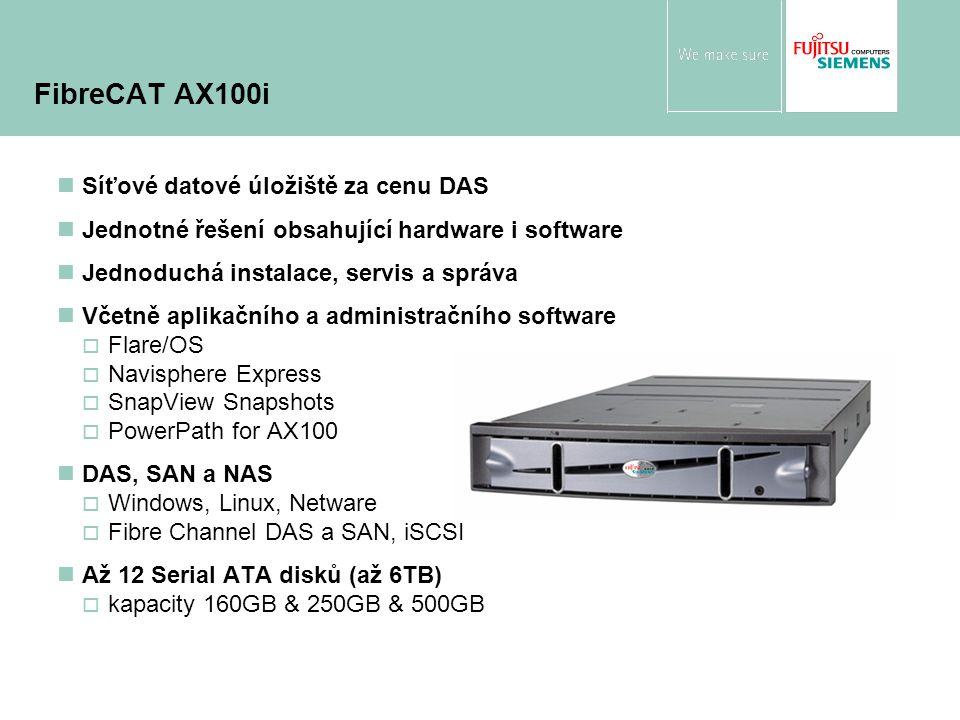 Síťové datové úložiště za cenu DAS Jednotné řešení obsahující hardware i software Jednoduchá instalace, servis a správa Včetně aplikačního a administračního software  Flare/OS  Navisphere Express  SnapView Snapshots  PowerPath for AX100 DAS, SAN a NAS  Windows, Linux, Netware  Fibre Channel DAS a SAN, iSCSI Až 12 Serial ATA disků (až 6TB)  kapacity 160GB & 250GB & 500GB