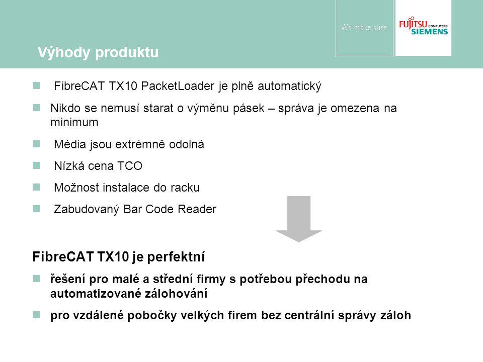 FibreCAT TX10 PacketLoader je plně automatický Nikdo se nemusí starat o výměnu pásek – správa je omezena na minimum Média jsou extrémně odolná Nízká cena TCO Možnost instalace do racku Zabudovaný Bar Code Reader FibreCAT TX10 je perfektní řešení pro malé a střední firmy s potřebou přechodu na automatizované zálohování pro vzdálené pobočky velkých firem bez centrální správy záloh Výhody produktu