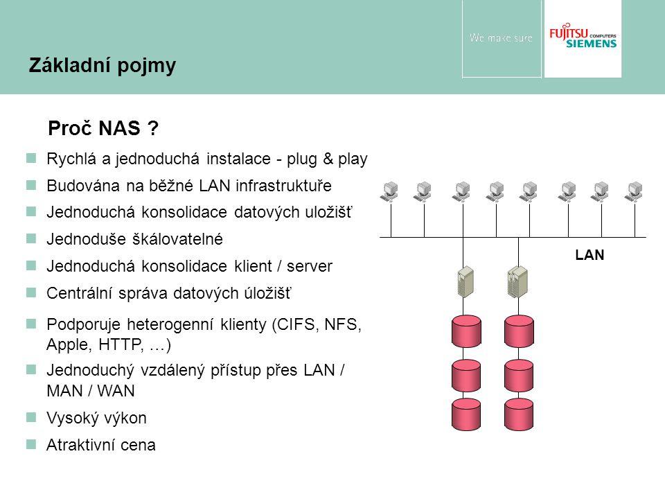 Proč NAS ? nRychlá a jednoduchá instalace - plug & play nBudována na běžné LAN infrastruktuře nJednoduchá konsolidace datových uložišť nJednoduše škál