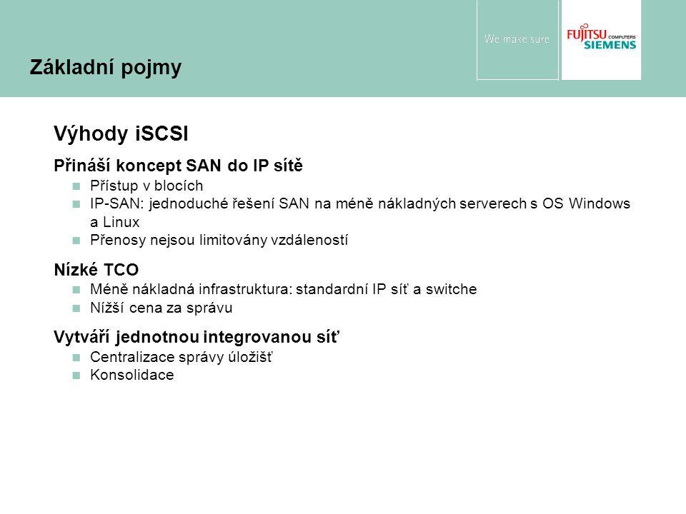 Výhody iSCSI Přináší koncept SAN do IP sítě Přístup v blocích IP-SAN: jednoduché řešení SAN na méně nákladných serverech s OS Windows a Linux Přenosy nejsou limitovány vzdáleností Nízké TCO Méně nákladná infrastruktura: standardní IP síť a switche Nížší cena za správu Vytváří jednotnou integrovanou síť Centralizace správy úložišť Konsolidace Základní pojmy