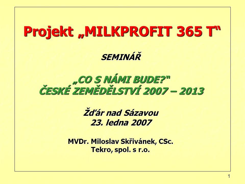 """1 Projekt """"MILKPROFIT 365 T SEMINÁŘ """"CO S NÁMI BUDE? ČESKÉ ZEMĚDĚLSTVÍ 2007 – 2013 Žďár nad Sázavou 23."""