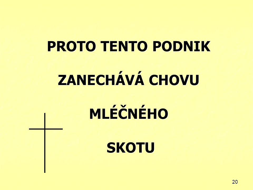 20 PROTO TENTO PODNIK ZANECHÁVÁ CHOVU MLÉČNÉHO SKOTU