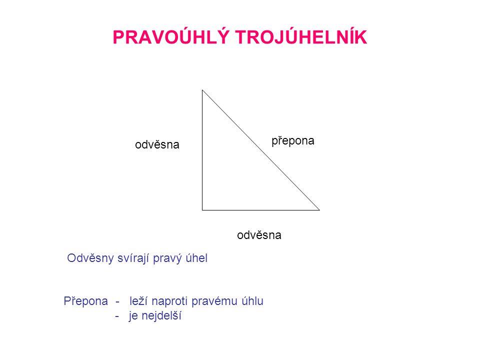 Pythagorova věta Obsah čtverce sestrojeného nad přeponou se rovná součtu obsahů čtverců nad oběma odvěsnami.