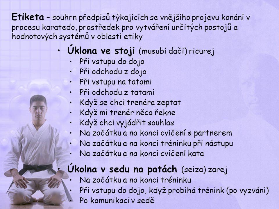 Etiketa – souhrn předpisů týkajících se vnějšího projevu konání v procesu karatedo, prostředek pro vytváření určitých postojů a hodnotových systémů v