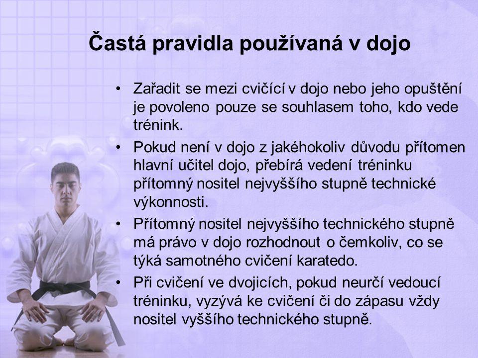 Častá pravidla používaná v dojo Zařadit se mezi cvičící v dojo nebo jeho opuštění je povoleno pouze se souhlasem toho, kdo vede trénink. Pokud není v