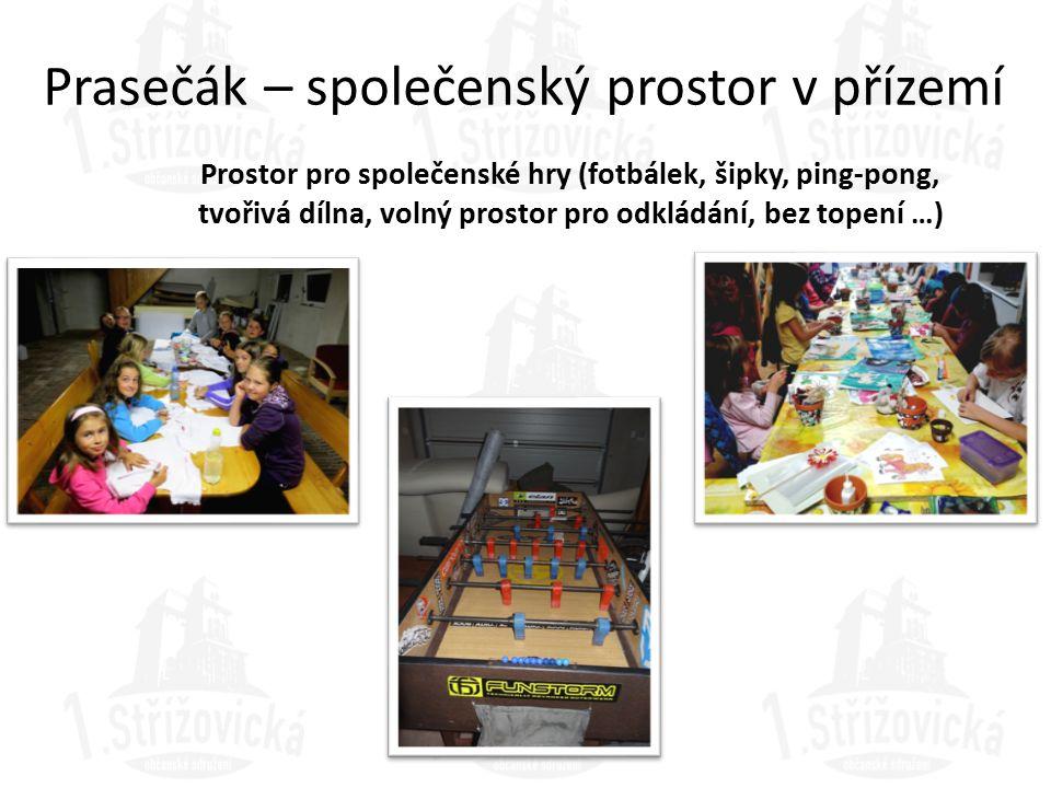 Prasečák – společenský prostor v přízemí Prostor pro společenské hry (fotbálek, šipky, ping-pong, tvořivá dílna, volný prostor pro odkládání, bez tope