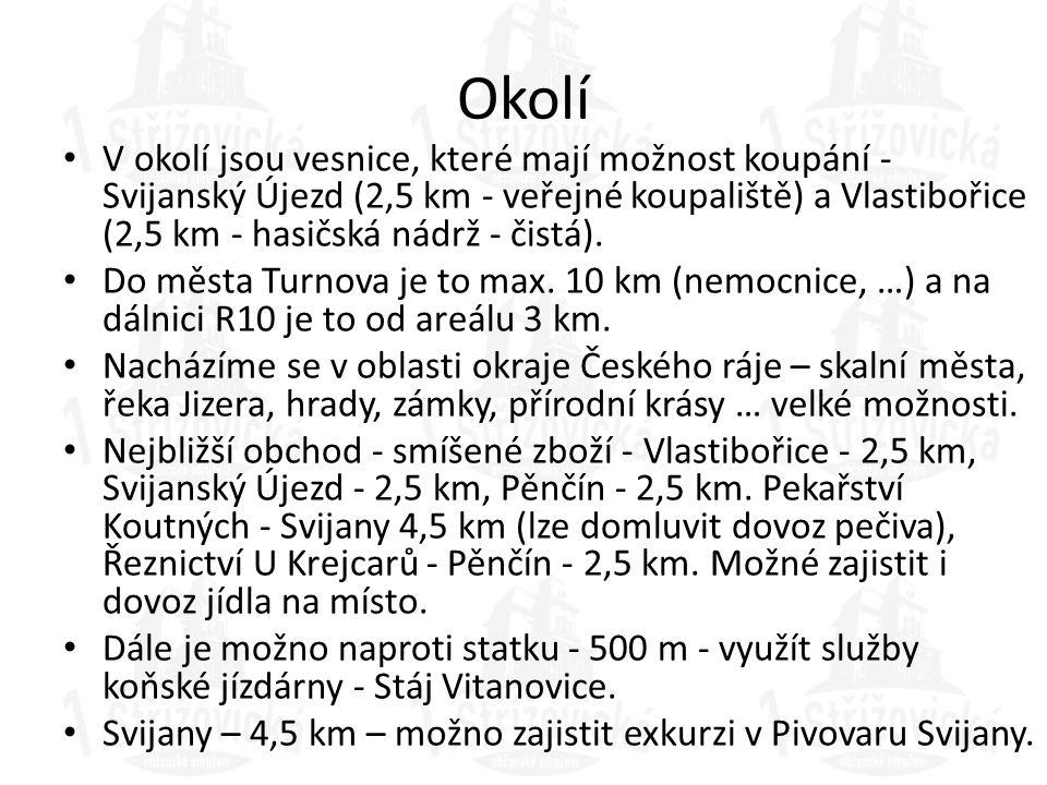 Okolí V okolí jsou vesnice, které mají možnost koupání - Svijanský Újezd (2,5 km - veřejné koupaliště) a Vlastibořice (2,5 km - hasičská nádrž - čistá