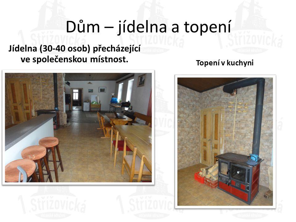 Dům – jídelna a topení Jídelna (30-40 osob) přecházející ve společenskou místnost. Topení v kuchyni