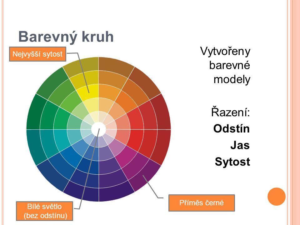 Barevný kruh Vytvořeny barevné modely Řazení: Odstín Jas Sytost Bílé světlo (bez odstínu) Nejvyšší sytost Příměs černé