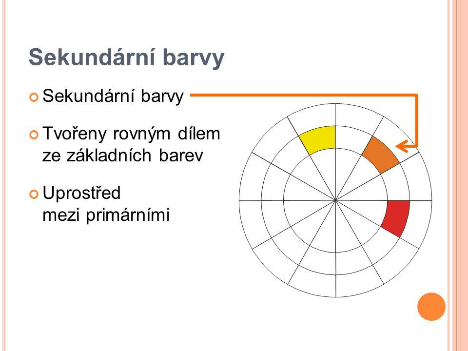Sekundární barvy Tvořeny rovným dílem ze základních barev Uprostřed mezi primárními