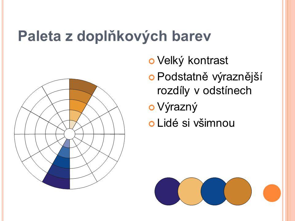 Paleta z doplňkových barev Velký kontrast Podstatně výraznější rozdíly v odstínech Výrazný Lidé si všimnou