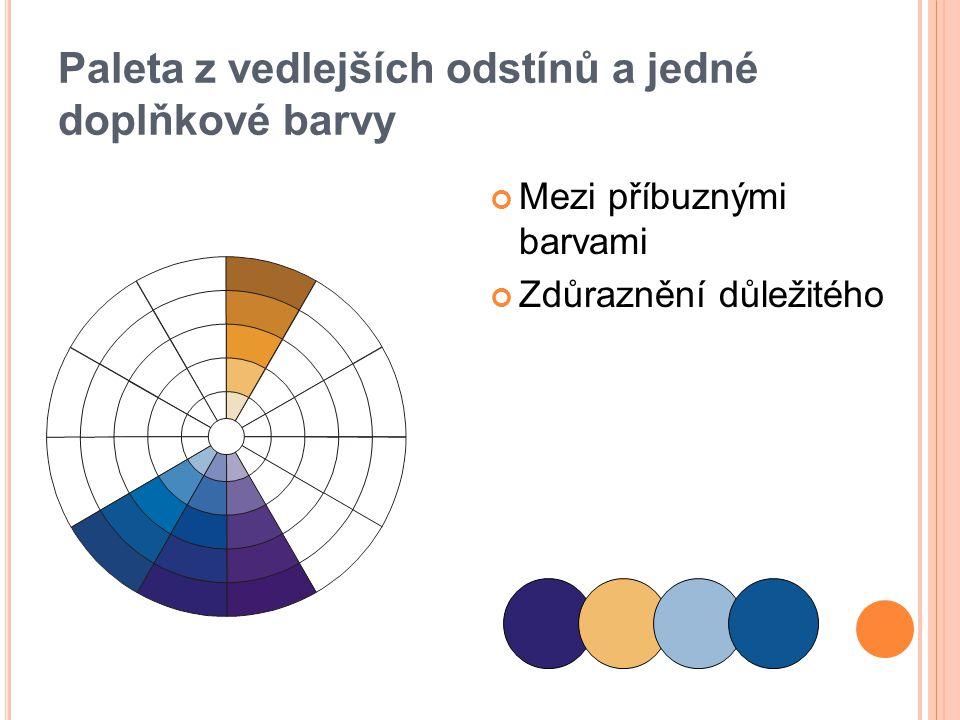 Paleta z vedlejších odstínů a jedné doplňkové barvy Mezi příbuznými barvami Zdůraznění důležitého
