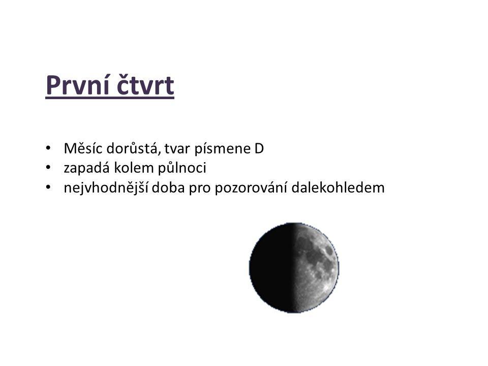 První čtvrt Měsíc dorůstá, tvar písmene D zapadá kolem půlnoci nejvhodnější doba pro pozorování dalekohledem