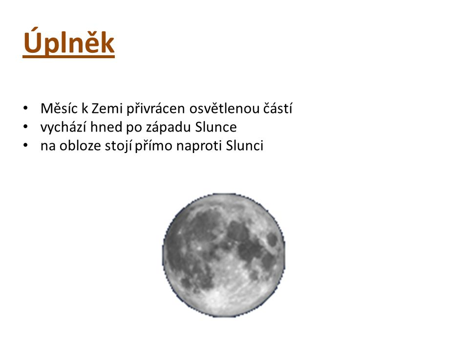 Úplněk Měsíc k Zemi přivrácen osvětlenou částí vychází hned po západu Slunce na obloze stojí přímo naproti Slunci