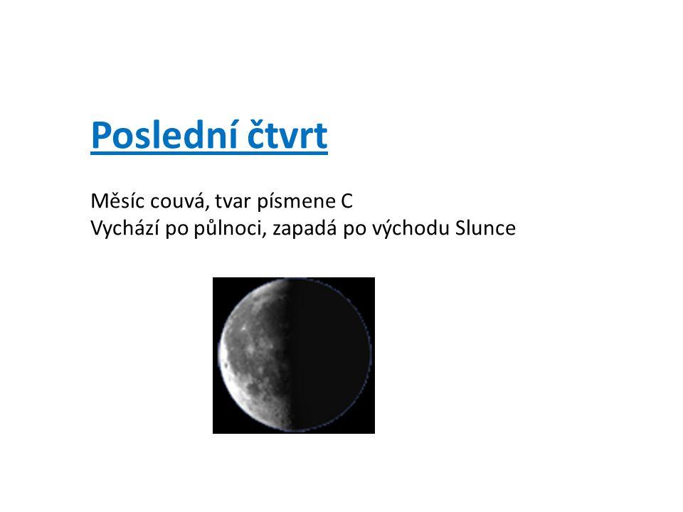 Poslední čtvrt Měsíc couvá, tvar písmene C Vychází po půlnoci, zapadá po východu Slunce