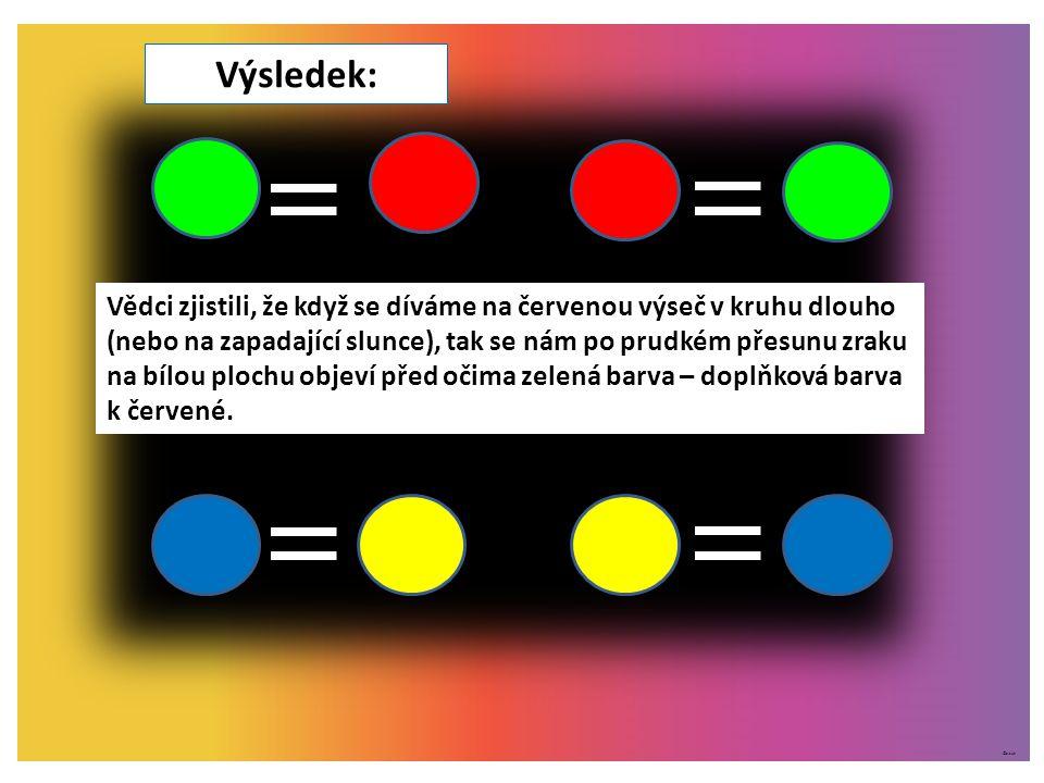 ©c.zuk Výsledek: Vědci zjistili, že když se díváme na červenou výseč v kruhu dlouho (nebo na zapadající slunce), tak se nám po prudkém přesunu zraku n
