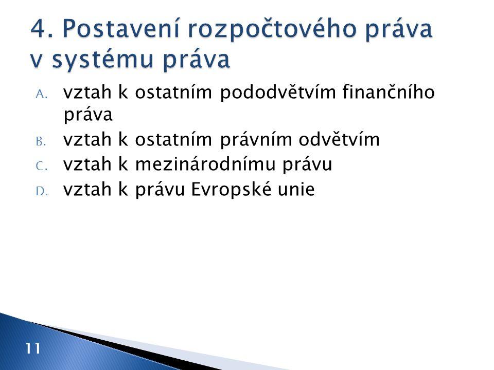 A. vztah k ostatním pododvětvím finančního práva B. vztah k ostatním právním odvětvím C. vztah k mezinárodnímu právu D. vztah k právu Evropské unie 11