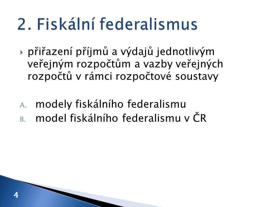  přiřazení příjmů a výdajů jednotlivým veřejným rozpočtům a vazby veřejných rozpočtů v rámci rozpočtové soustavy A. modely fiskálního federalismu B.