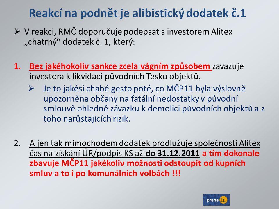 """Reakcí na podnět je alibistický dodatek č.1  V reakci, RMČ doporučuje podepsat s investorem Alitex """"chatrný"""" dodatek č. 1, který: 1.Bez jakéhokoliv s"""