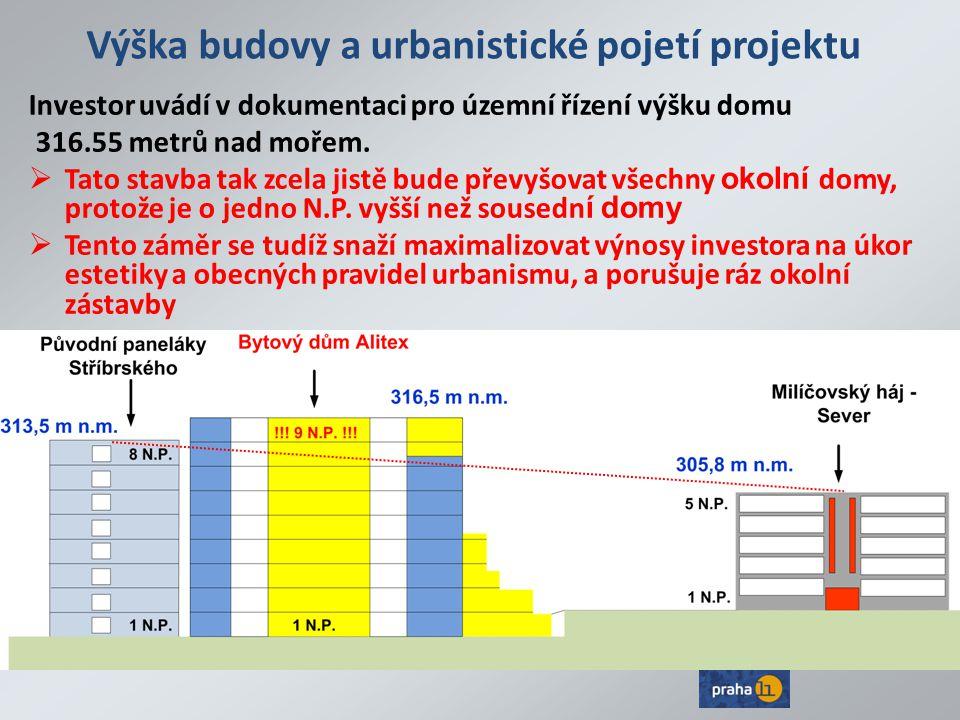Výška budovy a urbanistické pojetí projektu Investor uvádí v dokumentaci pro územní řízení výšku domu 316.55 metrů nad mořem.