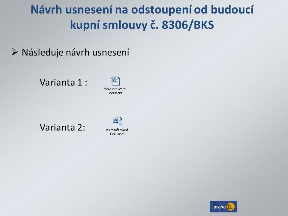 Návrh usnesení na odstoupení od budoucí kupní smlouvy č.