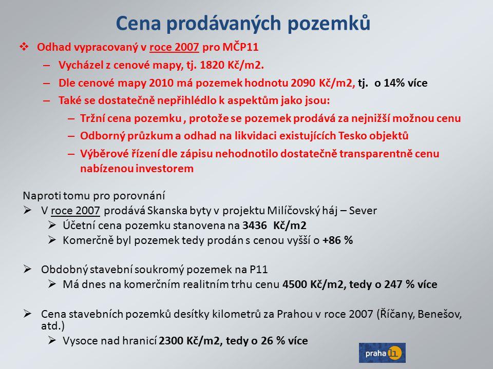 Cena prodávaných pozemků  Odhad vypracovaný v roce 2007 pro MČP11 – Vycházel z cenové mapy, tj. 1820 Kč/m2. – Dle cenové mapy 2010 má pozemek hodnotu
