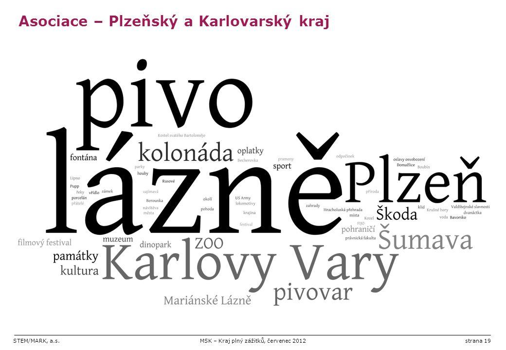 STEM/MARK, a.s.MSK – Kraj plný zážitků, červenec 2012strana 19 Asociace – Plzeňský a Karlovarský kraj
