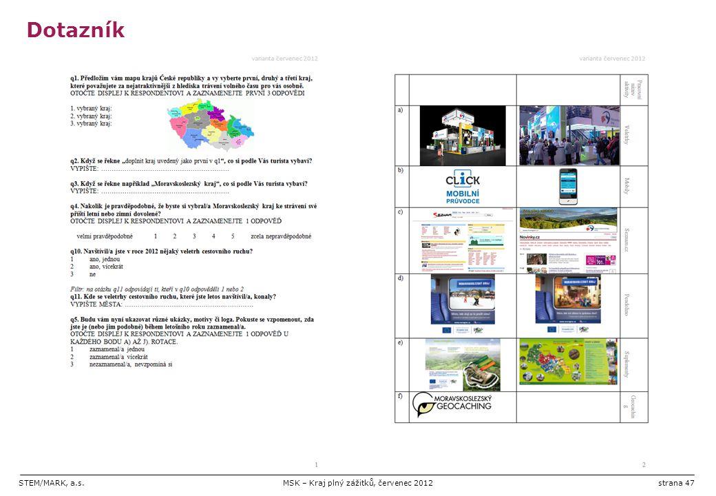 STEM/MARK, a.s.MSK – Kraj plný zážitků, červenec 2012strana 47 Dotazník