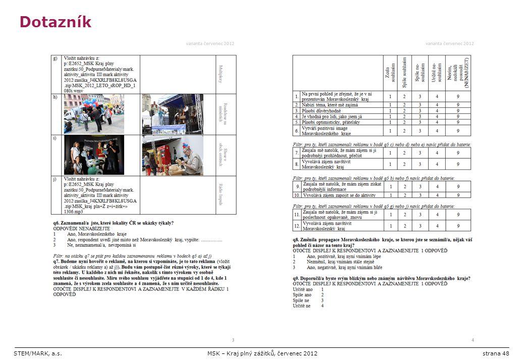 STEM/MARK, a.s.MSK – Kraj plný zážitků, červenec 2012strana 48 Dotazník