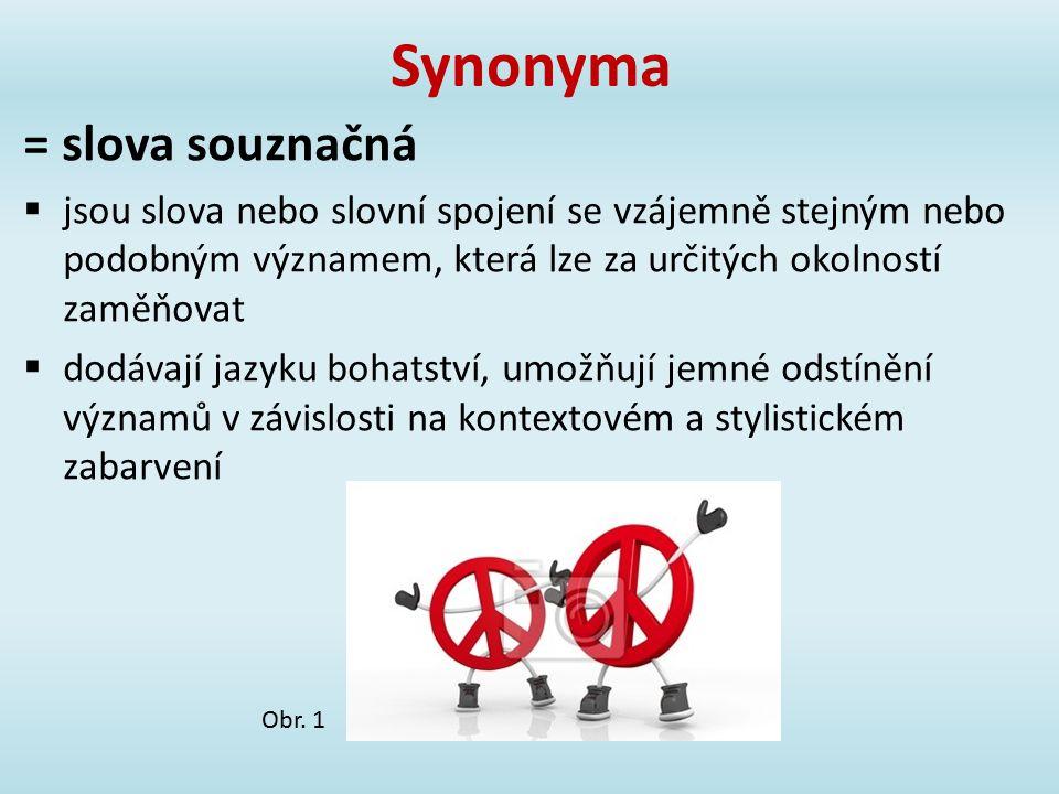 Synonyma = slova souznačná  jsou slova nebo slovní spojení se vzájemně stejným nebo podobným významem, která lze za určitých okolností zaměňovat  do