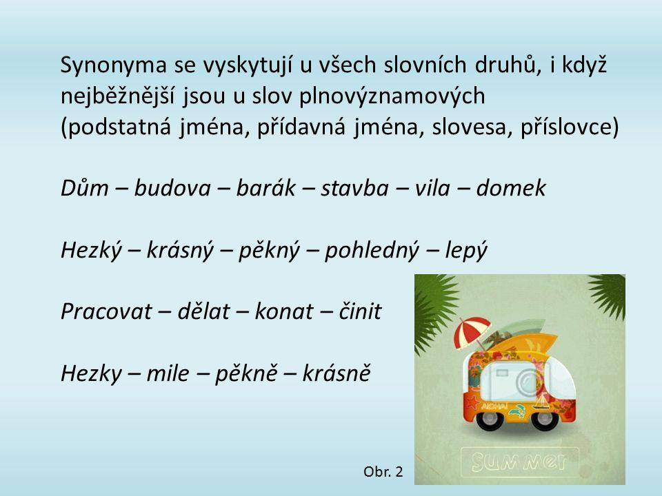 Synonyma se vyskytují u všech slovních druhů, i když nejběžnější jsou u slov plnovýznamových (podstatná jména, přídavná jména, slovesa, příslovce) Dům