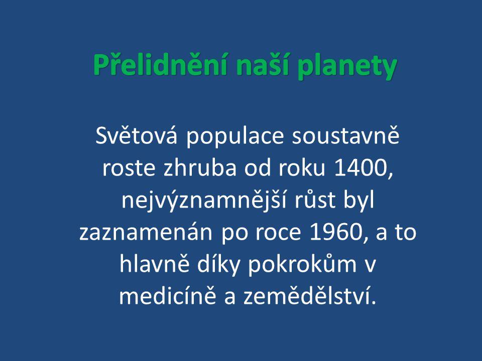 Světová populace soustavně roste zhruba od roku 1400, nejvýznamnější růst byl zaznamenán po roce 1960, a to hlavně díky pokrokům v medicíně a zeměděls