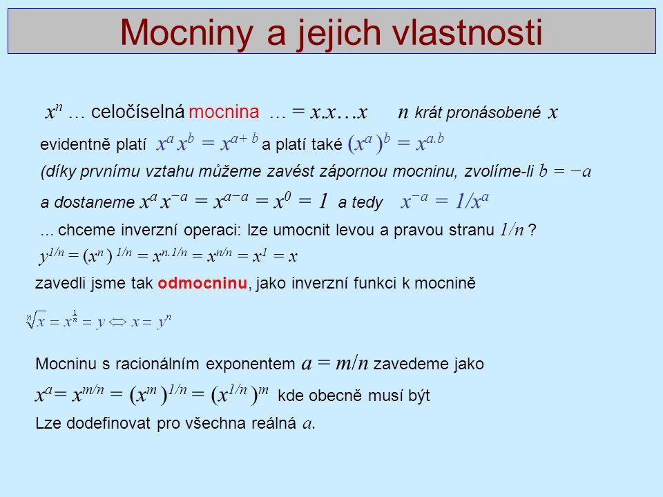Mocniny a jejich vlastnosti x n … celočíselná mocnina … = x.x…x n krát pronásobené x evidentně platí x a x b = x a+ b a platí také (x a ) b = x a.b (d